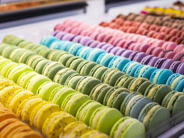 Colorful French Macarons Background, Close Up. Different Colorfu