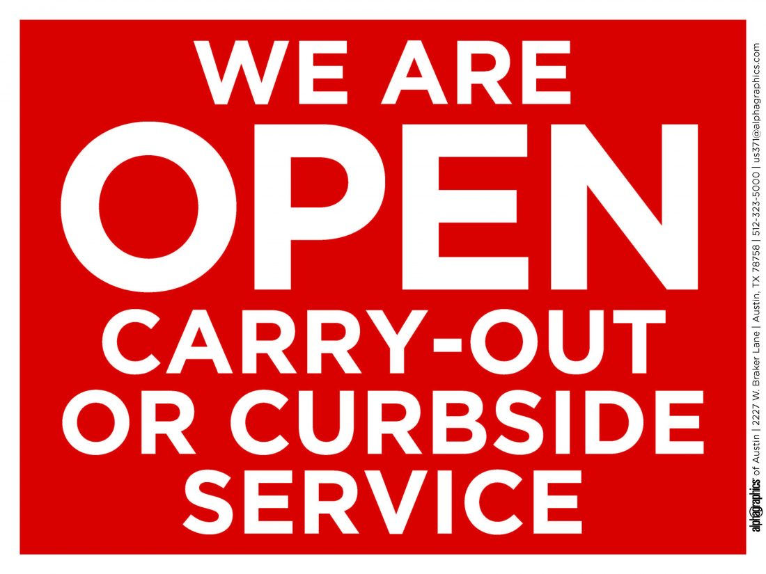 108853 AlphaGraphics 371 YES WE'RE OPEN 24x18 Sign PROOF2