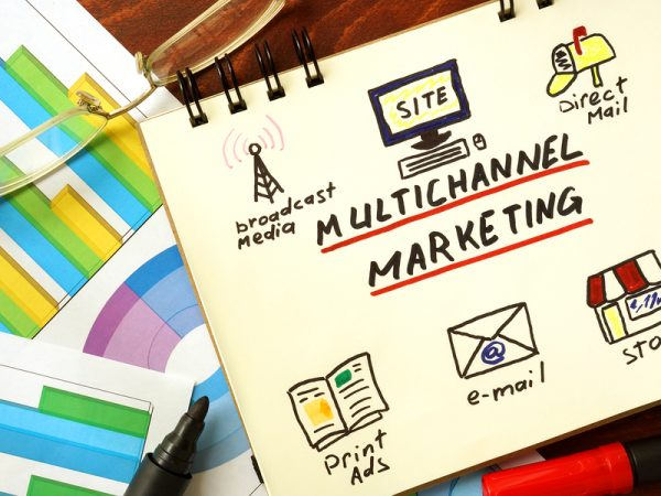Notepad with multi channel marketing concept.