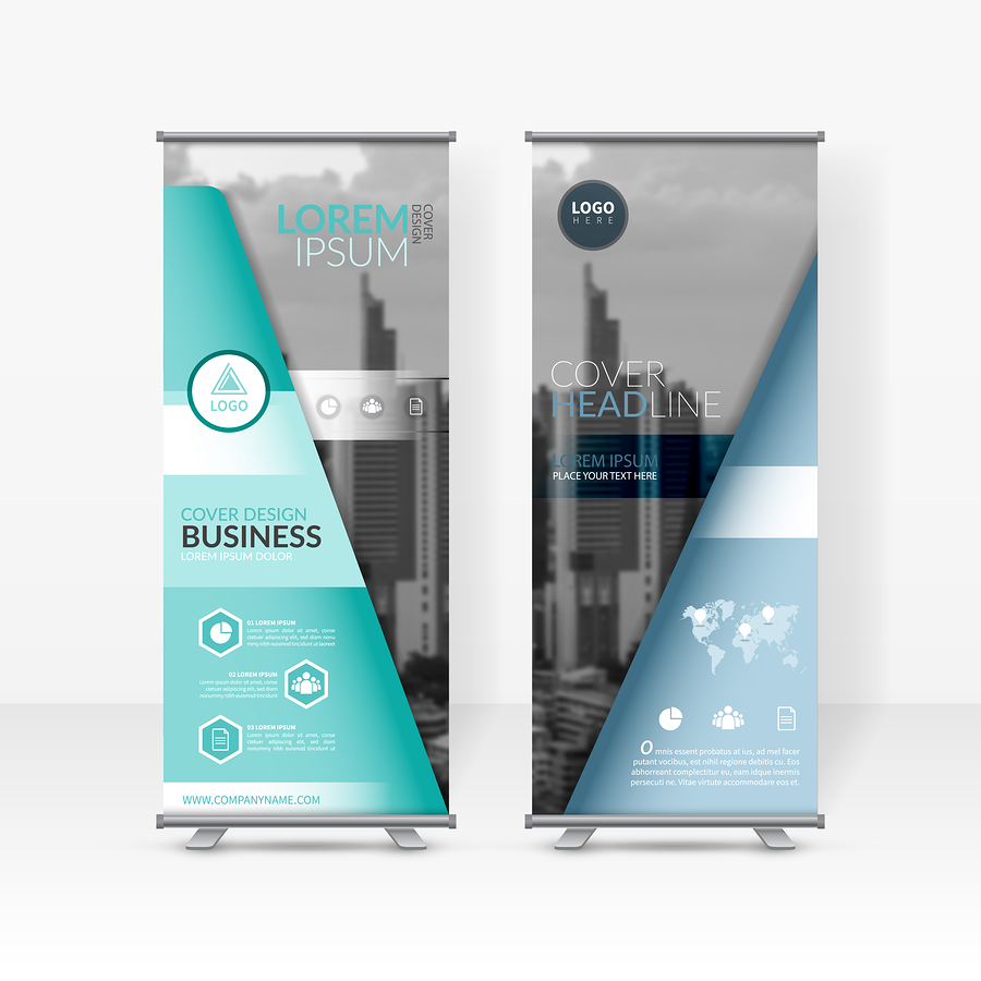 Business Roll Up Design Template, X-stand, Vertical Flag-banner
