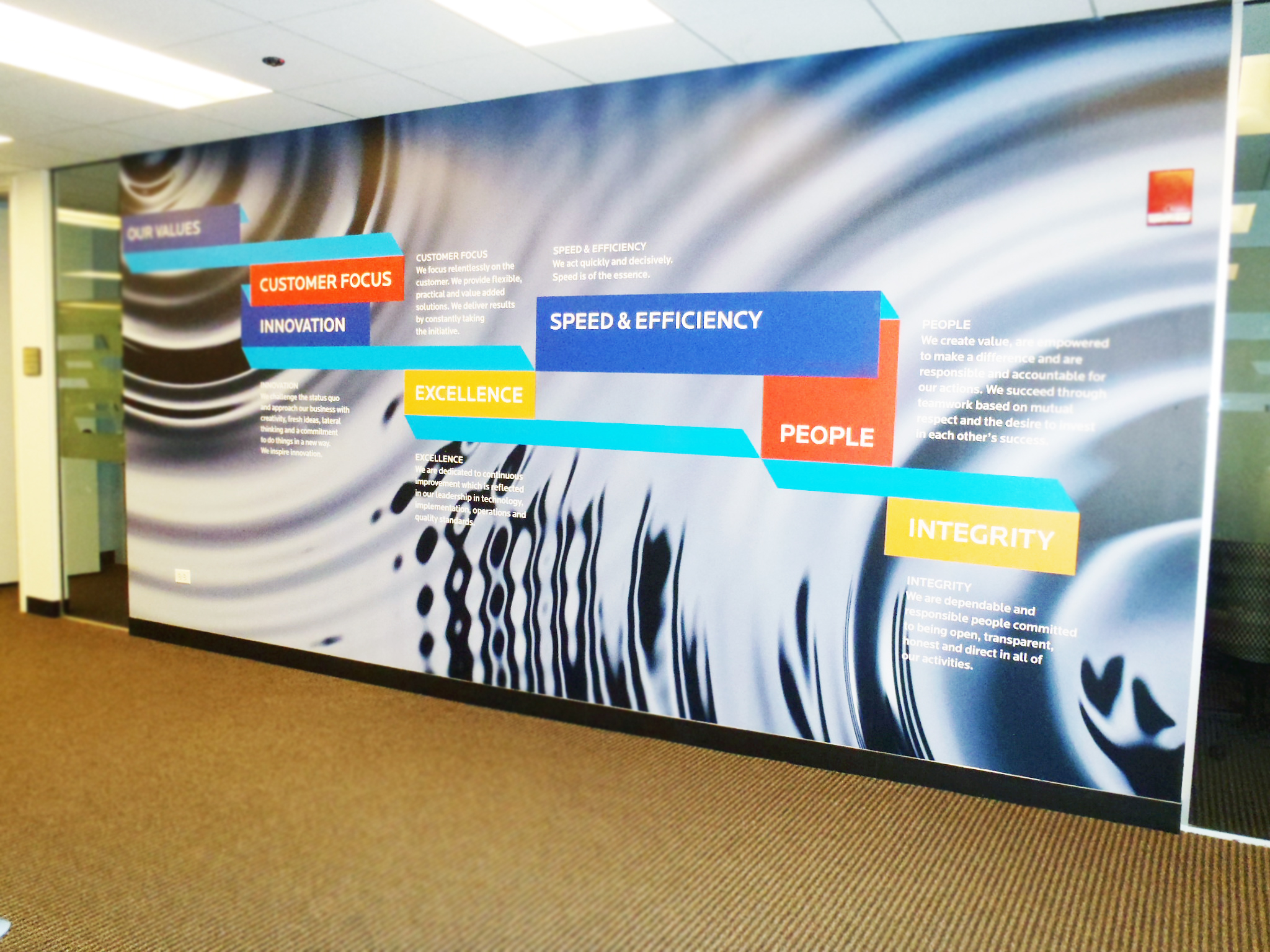 Xchanging printed wall graphic of company values