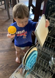 Toddler Helping with Dish Washer