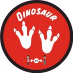 Floor graphic with two dinosaur footprints