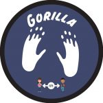 Floor graphic with two gorilla footprints