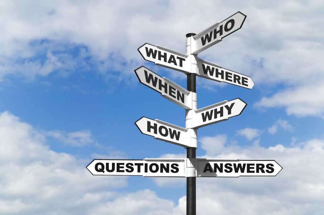 Concept image of the six most common questions