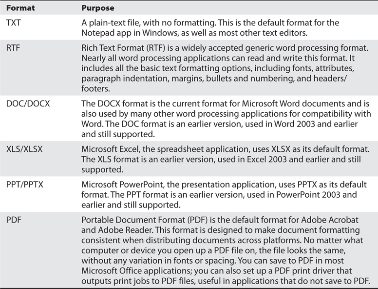 Table: Different Document Formats and their purposes