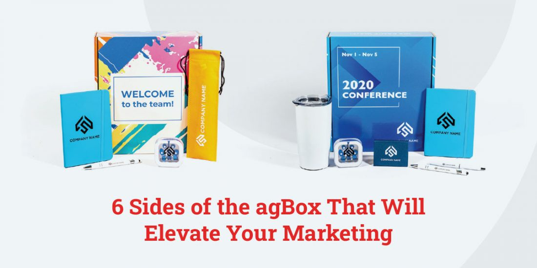 Two boxes with promotional products surrounding them